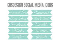 INSTANT DOWNLOAD - 10 Teal Flag Social Media Blog Buttons: Email, Facebook, Flickr, Google, Pinterest, RSS Feed, Tumblr, Twitter. $2.00, via Etsy.