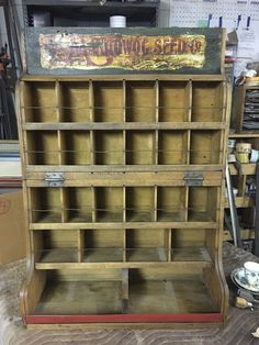 ANTIQUE seed display boxes/seed and feed/advertsing Wood Display, Display Boxes, Display Shelves, Farming, Ranch Decor, Shops, Porcelain Signs, Nesting Boxes, Store Displays