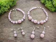 Anya lánya rózsakvarc fülbevaló és karkötő ásvány szett