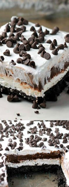 This No-Bake Chocolate Lasagna from Amanda's Cookin' has all of your favorite things — cream cheese, chocolate pudding, and chocolate chips.