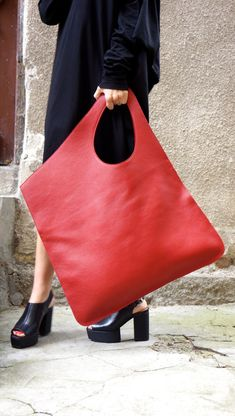 NEW Genuine Leather Red Bag / High Quality Tote Asymmetrical Large Bag by… Leather Handbags, Leather Bag, Red Leather, Tote Handbags, Leather Purses, Leather Crossbody, Soft Leather, Mochila Jeans, Red Bags