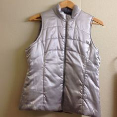 """Reversible down jacket Reversible jacket with pockets on both sides. Color - silver and gray. Very warm and comfortable. I bought this at the pebble beach shop in Monterey. Length 25"""", width 18.5"""". Worn once, in new condition. Jackets & Coats"""