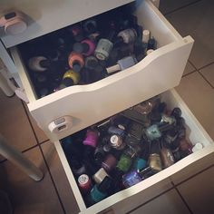 Oh my gosh you guys. I don't have enough drawer space for my polish anymore--these are the deep Alex drawers and I just started filling in the top space over the organized ones on the bottom. I can't find anything anymore  #timetodestash #adventuresinacetone #overwhelmed #isitpossibletohavetoomuchpolish #sendhelp by adventuresinacetone