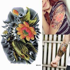 Brocado carpa brazo patrón colorido tótem de nuevo tatuaje temporal de pegatinas