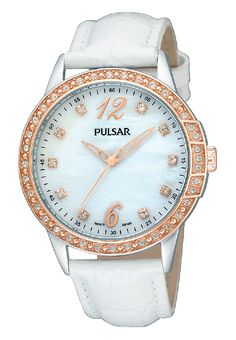 Ladies watch designed with a stainless steel case and a rose gold finish. The bezel and Mother-of-pearl dial features 48 Swarovski crystals.  30 meters water resistant. PH8050 www.pulsarwatchesusa.com