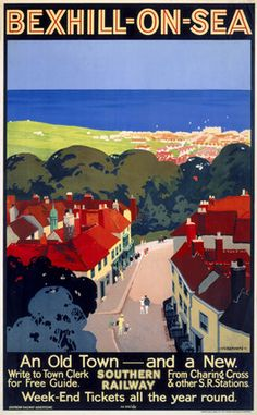 Bexhill on Sea, East Sussex. Southern Railway produced this poster in 1928 to pr… Bexhill on Sea, East Sussex. Posters Uk, Railway Posters, National Railway Museum, Tourism Poster, Southern Railways, British Rail, British Isles, Retro Poster, Photo Images