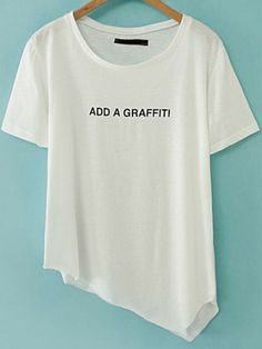 White Short Sleeve Letters Print Asymmetrical T-Shirt pictures