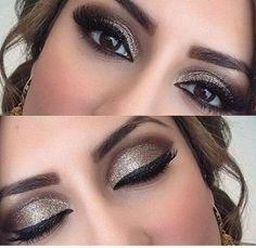 Idée Maquillage 2018 / 2019 : Goldish glittery brown make up look for weddings or prom or even for clubbing Pretty Makeup, Love Makeup, Simple Makeup, Makeup Style, Makeup Course, Makeup Set, Gorgeous Makeup, Makeup Brush, Natural Makeup