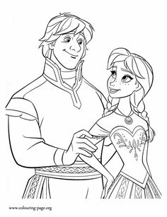 Princess Anna and Kristoff make a beautiful couple. Enjoy with this free Disney Frozen movie coloring page. Just print it out!
