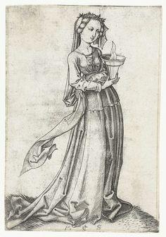 Martin Schongauer | De vierde wijze maagd, Martin Schongauer, 1470 - 1490 | Een van de vijf wijze maagden uit de bijbelse gelijkenis, een brandend olielampje in de hand, met de andere hand haar sluier vasthoudend bij haar middel. Deze prent is onderdeel van een serie van tien prenten, vijf met wijze maagden en vijf met dwaze maagden.