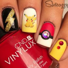 PIkachu Pokemon Nails by @sloteazzy; check it out at http://www.nailitmag.com/nail-art-of-the-day/pikachu-pokemon-nails
