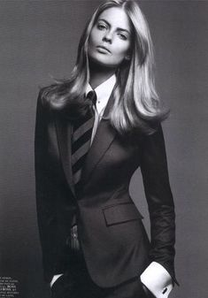 Fuck Yeah Women in Suits — Julia Stegner. Vogue Paris September 2005. black...