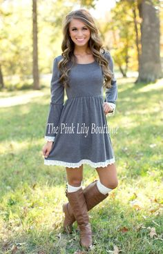 The Pink Lily Boutique - Just The Sweetest Dress Charcoal , $42.00 (http://thepinklilyboutique.com/just-the-sweetest-dress-charcoal/)