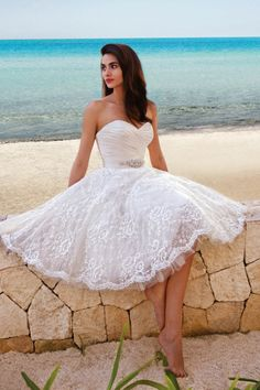 fabulous strapless sweetheart a-line short lace wedding dress with crystal ribbon
