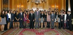 Don Felipe and Princess Letizia pose with the members of X Local Council of Children of Oviedo, in the Hall of Councils for the Hotel de la Reconquista, where there have been 8 hearings with about 240 people from various Asturian society entities occasion of the delivery of the Prince of Asturias Awards 2013.