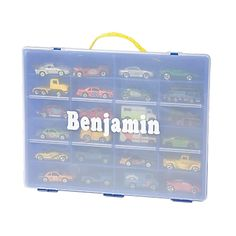 Give your little guy some red hot wheels + a cool case to carry them in!  Handy, sturdy, and colorful carrying case for miniature toy cars.