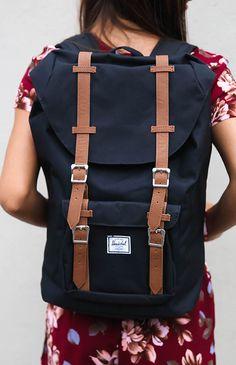 "Herschel - Retreat 15"" Laptop Backpack - Black/Tan PU from Peppermayo.com"