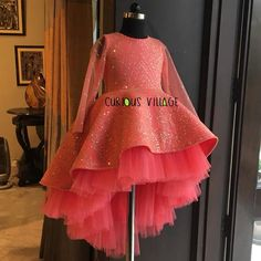 Shop Bling short long gown Online For Kids - Curious Village Glitter Dress, Pink Glitter, Long Gowns Online, Trendy Fashion, Kids Fashion, Daughters Day, Pink Bling, Party Gowns, Beautiful Gowns