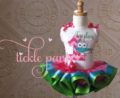 Fancy Pretty Owl Birthday Outfit- Pinks- Includes embroidered top and ruffled tutu- Hot pink lime turquoise- Can be customized by TicklePants on Etsy https://www.etsy.com/listing/228836182/fancy-pretty-owl-birthday-outfit-pinks