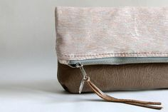 Fold Over Clutch, Leather Clutch Ooak