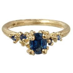 Gold sapphire ring, £1,480, Ruth Tomlinson at Liberty London   - HarpersBAZAAR.co.uk