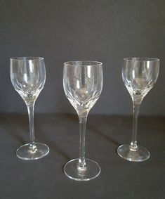 Waterford Crystal set of 3 Cordial Brandy Glasses Signed #Waterford