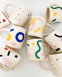 They are all my favs. More large hand-painted mugs. Great for ☕️ ! They are all my favs. More large hand-painted mugs. Great for ☕️ ! Pottery Painting Designs, Pottery Designs, Paint Designs, Mug Designs, Ceramic Mugs, Ceramic Pottery, Carrie, Keramik Design, Hand Painted Mugs
