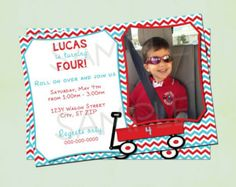 DIY Printable Red Wagon Birthday Invitation
