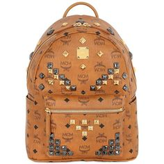 MCM Small Stark Studded Backpack ($795) ❤ liked on Polyvore featuring bags, backpacks, tan, laptop bag, leather backpack, genuine leather backpack, leather laptop bag and laptop backpacks