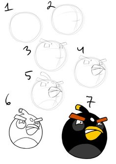 drawing tutorial how to draw a black angry bird step by step