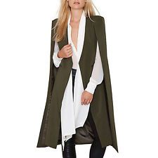 Womens Casual Loose Cape Cardigan Long Cloak Jacket Trench Coat Outwear Green