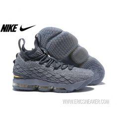 dd84f7f8ca6 NIKE LEBRON 15 897649-005 WOLF GREY MTLC GOLD-COOL GREY Basketball shoes