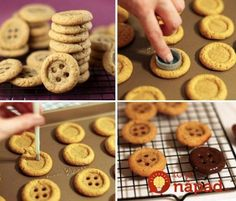 Way to make cute button cookies Button Cookies, Sugar Free Sweets, Number Cakes, Sweet Pastries, Food Decoration, How To Make Cookies, Desert Recipes, Creative Food, Creative Ideas
