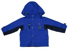 LONDON FOG Boys Rain Coat Jacket 3T Fleece Lined Hooded Blue Zipper NEW