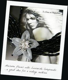 Macrame flower with Swarovski , for a vintage necklace