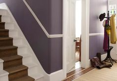 Dulux The colours in the hallway picture are from the Signature. The top colour is Mid Jute and the below dado rail colour is Pure Jute. The woodwork is Pure Brilliant White. Hallway Colours, Inside Doors, Grey Hallway Paint, Hallway Paint, Dado Rail, Grey Hallway, Door Makeover, White Stairs, White Walls