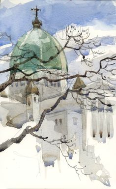 St. Joseph's Oratory is perhaps Montreal's most famous landmark Watercolor Sketch, Watercolor Illustration, Watercolor Paintings, Watercolors, Watercolor Architecture, Architecture Drawings, Green Dome, Urban Sketchers, Watercolor Techniques