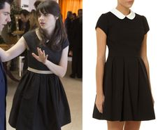 Jess Day wore a black and white dress with a peter pan collar in New Girl season 2 episode 20 'Chicago' - get the look ...