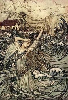 """Soon she was lost to sight in the Danube"" - Undine illustrated by Arthur Rackham (1909)"