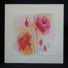 Grußkarte Mohnblumen
