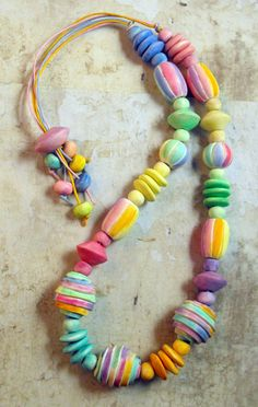 "OOAK Necklace ""Candy Colors""- Handmade from Polymer Clay"
