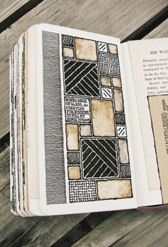 Moleskine, by Rebecca Blair inspiration for quilt blocks or color blocking in mixed media art. Sketchbook Layout, Sketchbook Pages, Sketchbook Inspiration, Art Journal Pages, Art Journals, Sketchbook Ideas, Small Sketchbook, Fashion Sketchbook, Altered Books