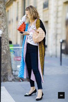Sofia Sanchez De Betak wearing a Outlaw Moscow veste during Paris Fashion Week Spring Summer 2017