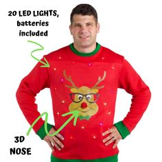 New Ugly Christmas Sweater Men's With Lights, Guys Funny Men's Reindeer Ugly Sweater. mens ugly christmas sweater