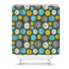 Shower Curtain Crazy Daisy Gray Yellow Turquoise by FolkandFunky