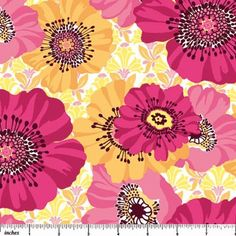 1/2 Yard Picadilly Circle Lg Flowers Pink Fabric by fabricfreak43, $4.99