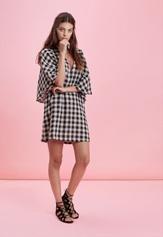 GLORIUSLY CHEQUERED PAST-FLUTTERBYE DRESS - BLACK & WHITE-TRAFFIC PEOPLE