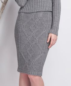 Loving this Gray Diamond Cable Wool-Blend Pencil Skirt on #zulily! #zulilyfinds