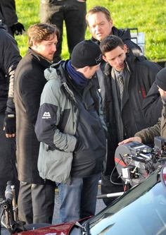 """'Filth'  Actors James McAvoy and Jamie Bell with dirctor Jon Baird film their new movie, """"Filth"""" on January 23, 2012 in Glasgow, Scotland. The guys smoked cigarettes and laughed between takes in the cold, rural location.  (January 23, 2012 - Photo by FameFlynet Pictures)"""