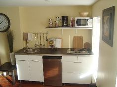 Brooklyn apartment rental - Effeciency kitchenette with 2 burner cooktop, sink and undercounter refrigerator